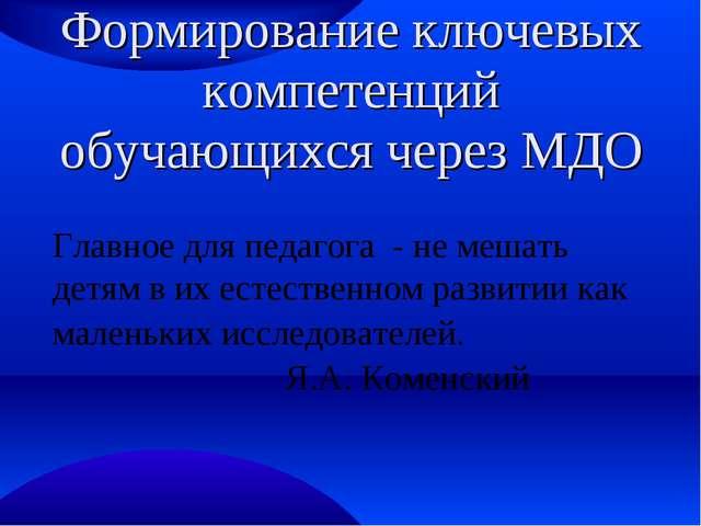Формирование ключевых компетенций обучающихся через МДО Главное для педагога...