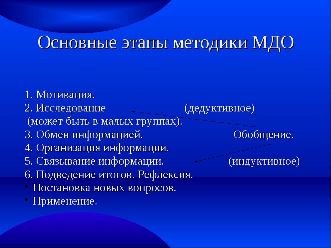 Основные этапы методики МДО 1. Мотивация. 2. Исследование (дедуктивное) (може...