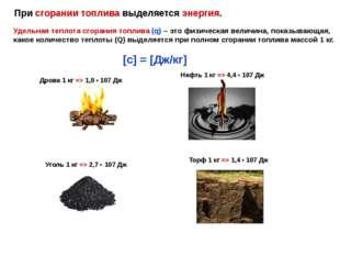 При сгорании топлива выделяется энергия. Удельная теплота сгорания топлива (q