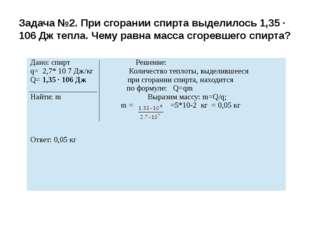 Задача №2. При сгорании спирта выделилось 1,35 · 106 Дж тепла. Чему равна мас