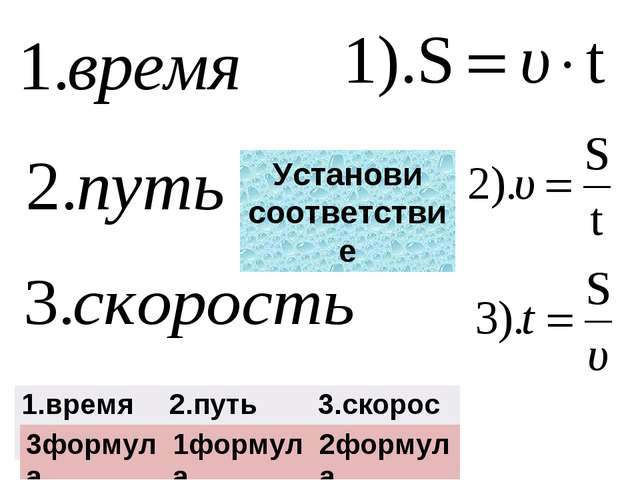 Установи соответствие 1.время2.путь3.скорость 3формула1формула2формула