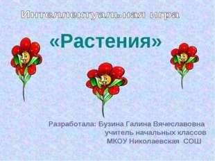 Разработала: Бузина Галина Вячеславовна учитель начальных классов МКОУ Никола