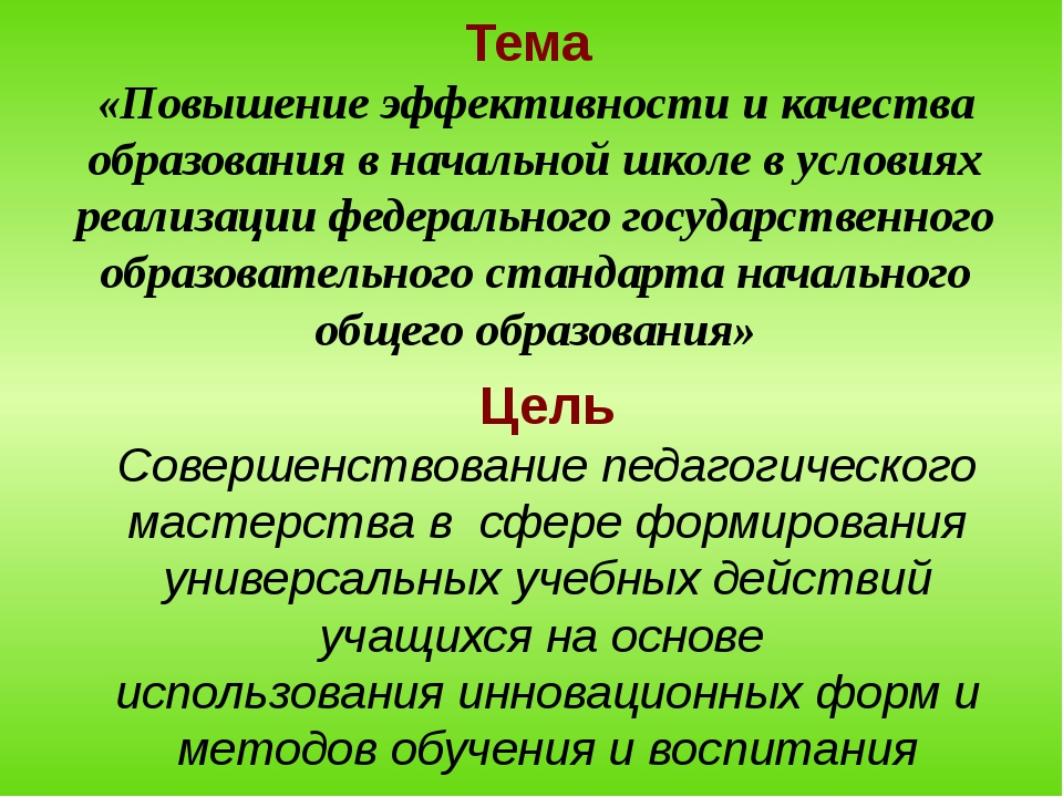 Тема «Повышение эффективности и качества образования в начальной школе в усло...