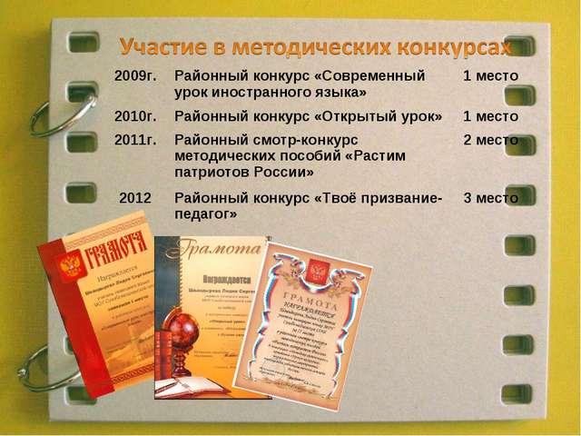 2009г.Районный конкурс «Современный урок иностранного языка»1 место 2010г....