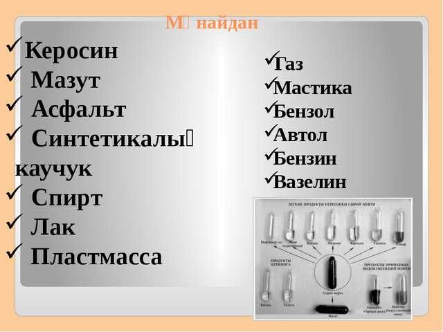 Мұнайдан Газ Мастика Бензол Автол Бензин Вазелин Керосин Мазут Асфальт Синтет...