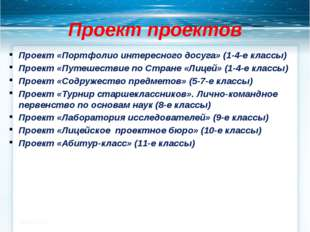 Проект проектов Проект «Портфолио интересного досуга» (1-4-е классы) Проект «
