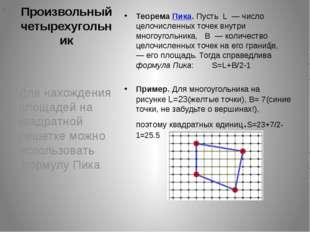 Произвольный четырехугольник Для нахождения площадей на квадратной решетке мо