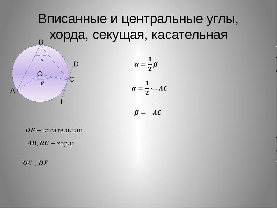 Вписанные и центральные углы, хорда, секущая, касательная О A B C D F