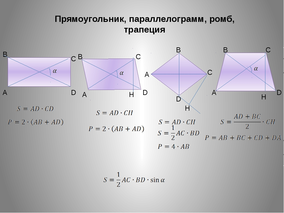 Прямоугольник, параллелограмм, ромб, трапеция A B C D A B C D A B C D A B C D...