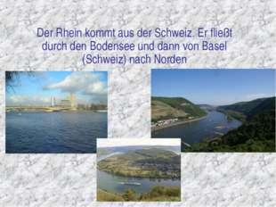 Der Rhein kommt aus der Schweiz. Er fließt durch den Bodensee und dann von Ba