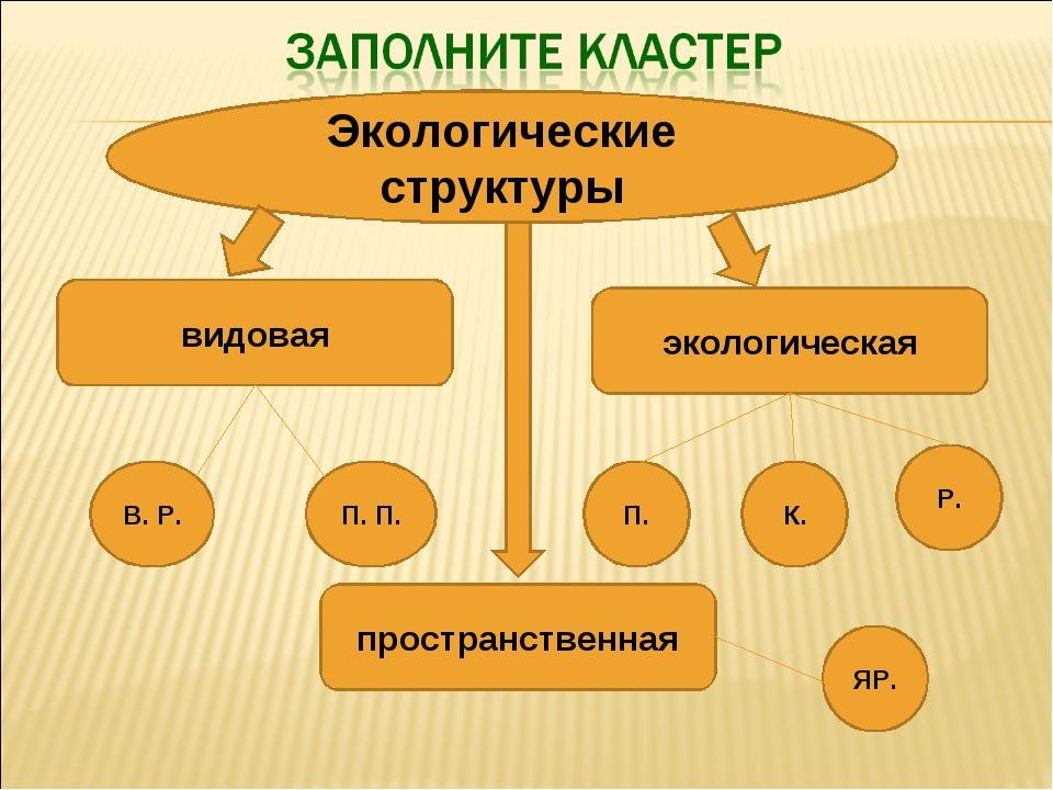 Экологические структуры видовая пространственная экологическая В. Р. П. П. П....