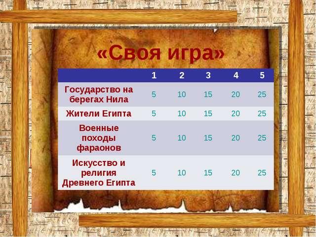 «Своя игра» 12345 Государство на берегах Нила510152025 Жители Егип...