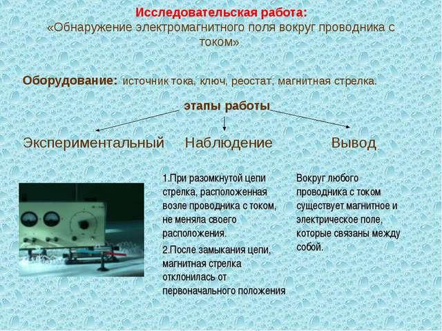 Исследовательская работа: «Обнаружение электромагнитного поля вокруг проводн...