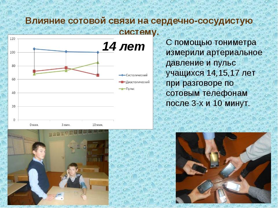 Влияние сотовой связи на сердечно-сосудистую систему. 14 лет С помощью тониме...