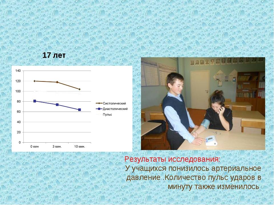 Результаты исследования: У учащихся понизилось артериальное давление .Количес...