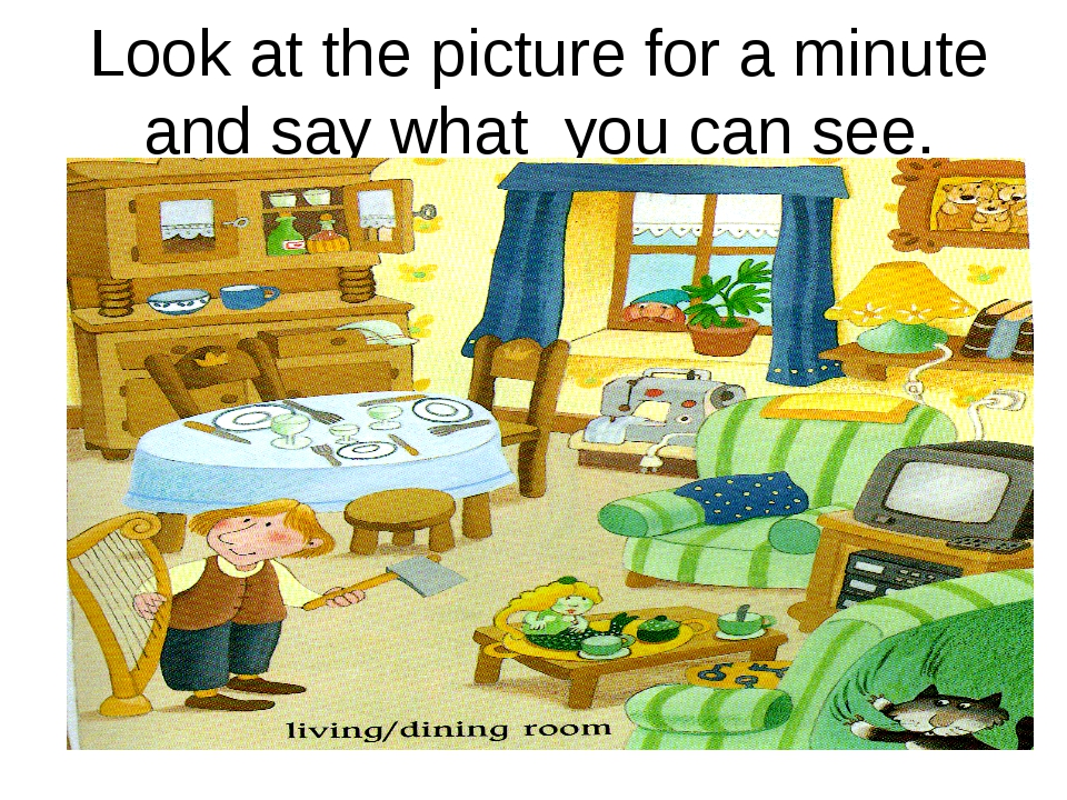 Look at the picture for a minute and say what you can see.