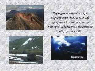 Вулкан – геологическое образование, возникшее над трещиной в земной коре, по