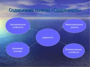 Содержание понятия «Одаренность» одаренность Психофизические особенности Креа