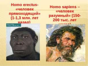 Homo erectus- «человек прямоходящий» (1-1,3 млн. лет назад) Homo sapiens – «ч