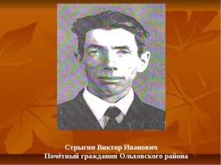 Стрыгин Виктор Иванович Почётный гражданин Ольховского района