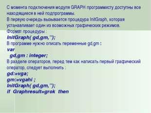 С момента подключения модуля GRAPH программисту доступны все находящиеся в не