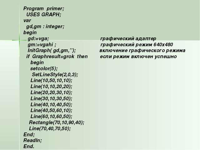Program primer; USES GRAPH; var gd,gm : integer; begin gd:=vga; графический а...