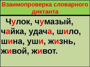 Взаимопроверка словарного диктанта Чулок, чумазый, чайка, удача, шило, шина,