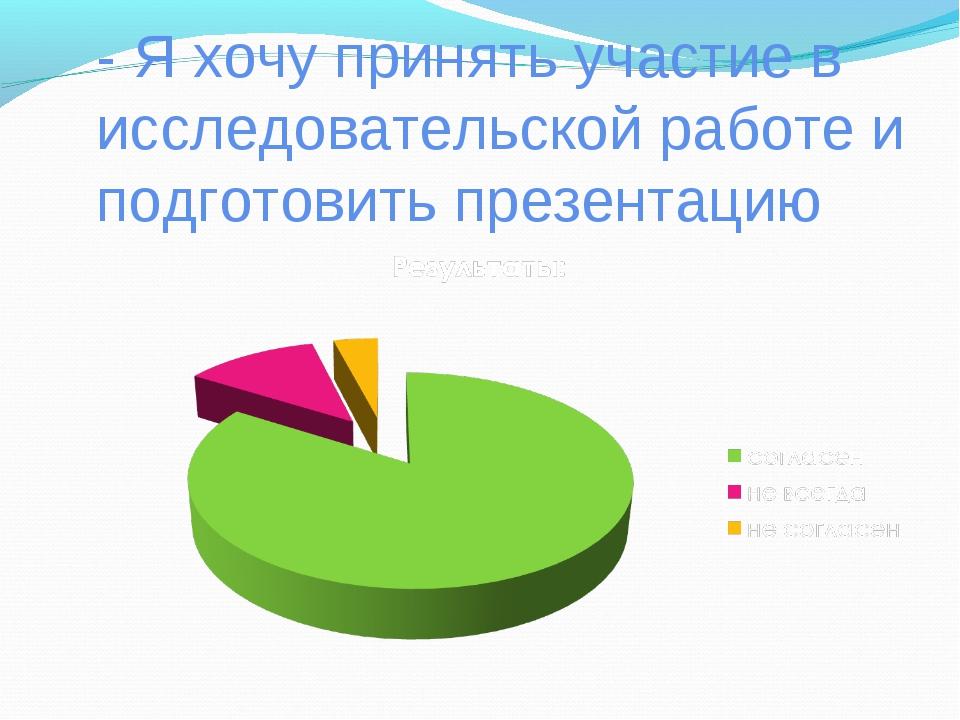 - Я хочу принять участие в исследовательской работе и подготовить презентацию