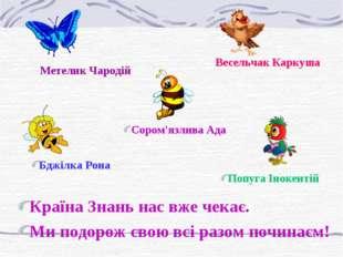 Метелик Чародій Весельчак Каркуша Бджілка Рона Попуга Інокентій Сором'язлива