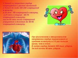 У детей и у взрослых сердце сокращается с разной частотой: у детей до года 10