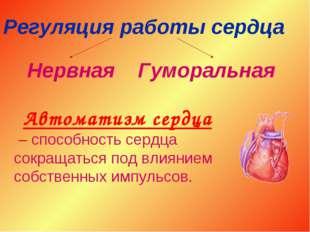 Регуляция работы сердца Нервная Гуморальная Автоматизм сердца – способность с