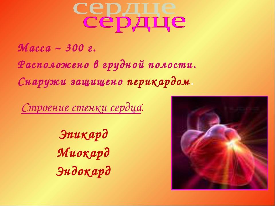 Строение стенки сердца: Эпикард Миокард Эндокард Масса ~ 300 г. Расположено в...