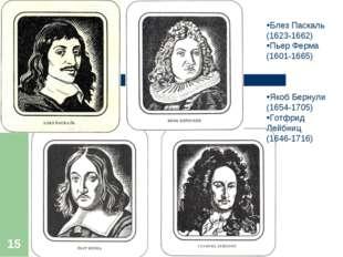 * Блез Паскаль (1623-1662) Пьер Ферма (1601-1665) Якоб Бернули (1654-1705) Го