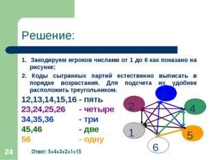 * Решение: 1. Закодируем игроков числами от 1 до 6 как показано на рисунке; 2