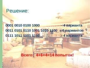 * Решение: 0001 0010 0100 1000 - 4 варианта 0011 0101 0110 1001 1010 1100 - 6