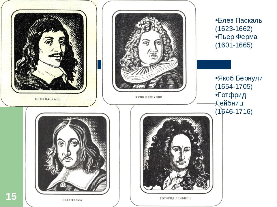 * Блез Паскаль (1623-1662) Пьер Ферма (1601-1665) Якоб Бернули (1654-1705) Го...