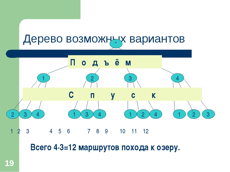 * Дерево возможных вариантов * * 1 2 3 4 2 3 4 1 3 4 1 2 4 1 2 3 Всего 4∙3=12...