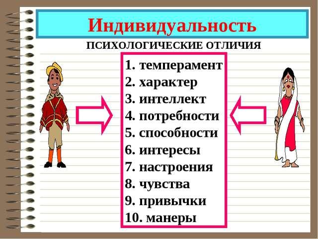 Индивидуальность ПСИХОЛОГИЧЕСКИЕ ОТЛИЧИЯ 1. темперамент 2. характер 3. интелл...
