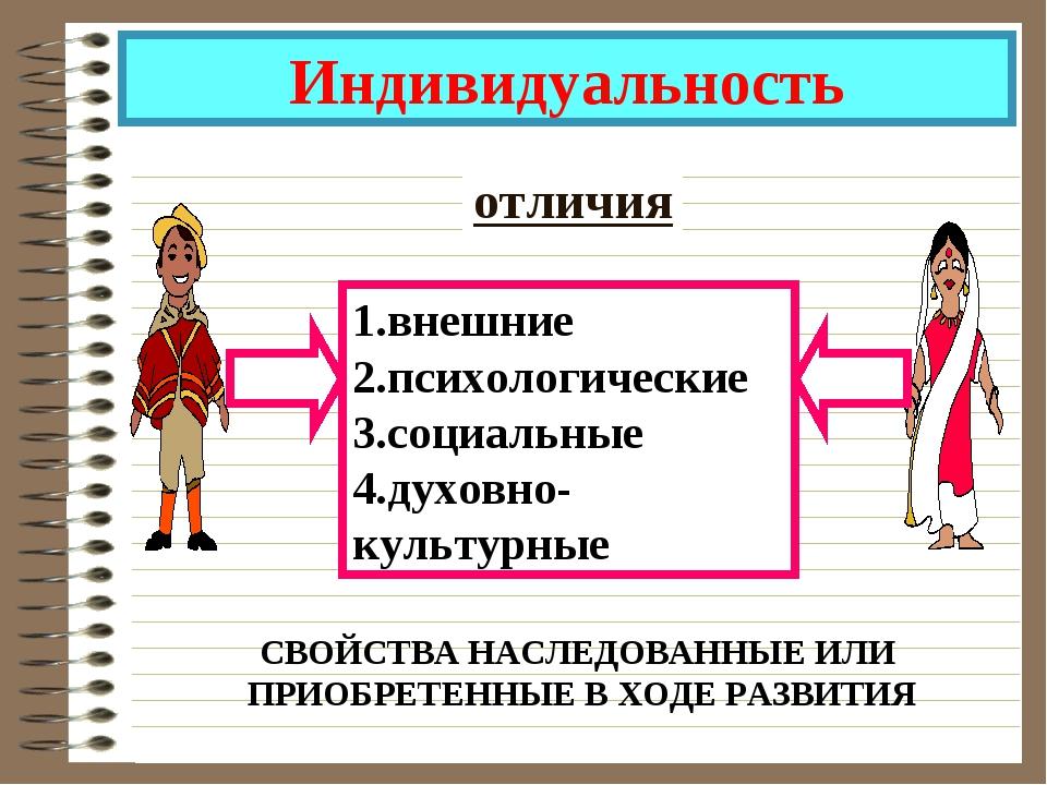 Индивидуальность отличия 1.внешние 2.психологические 3.социальные 4.духовно-к...