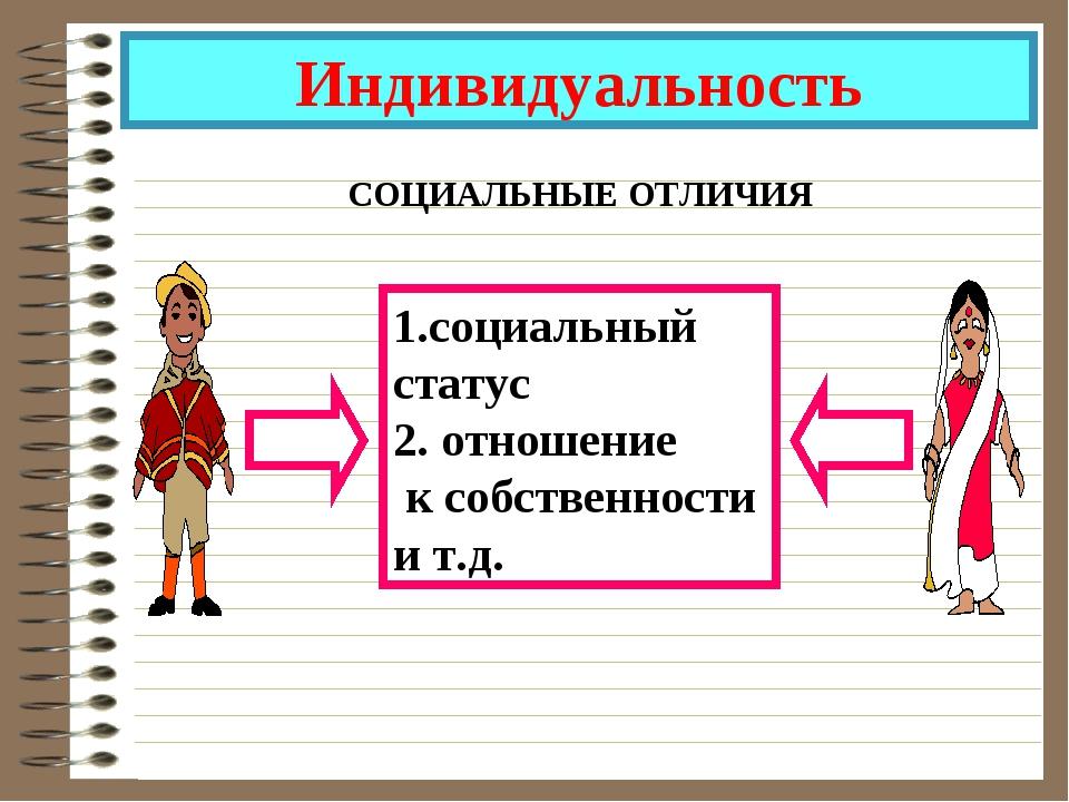 Индивидуальность СОЦИАЛЬНЫЕ ОТЛИЧИЯ 1.социальный статус 2. отношение к собств...