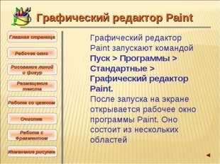 Графический редактор Paint запускают командой Пуск > Программы > Стандартные