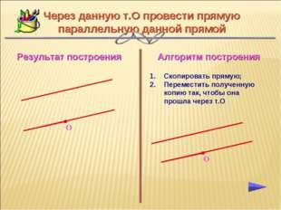 Алгоритм построения Результат построения Через данную т.О провести прямую пар