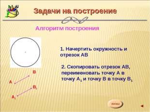 Задачи на построение Алгоритм построения А В1 А1 В 1. Начертить окружность и
