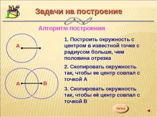 Задачи на построение Алгоритм построения 1. Построить окружность с центром в