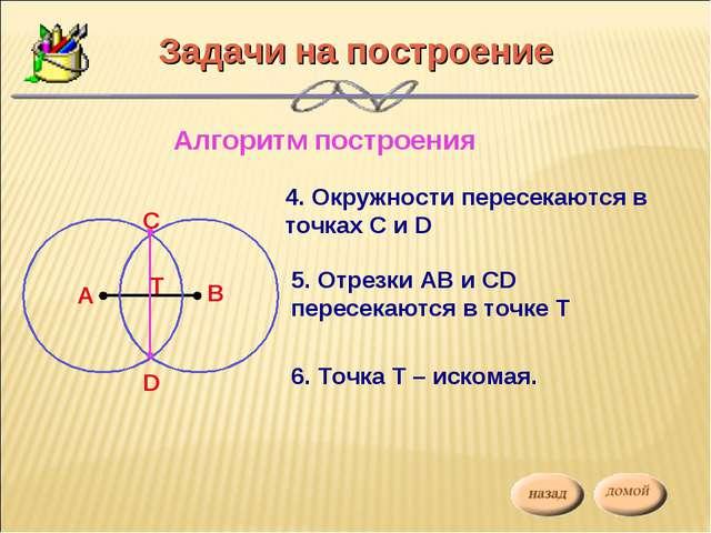 Задачи на построение Алгоритм построения 4. Окружности пересекаются в точках...