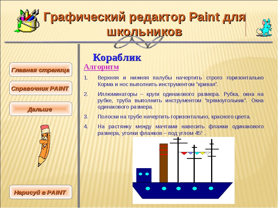 Графический редактор Paint для школьников Кораблик Алгоритм Верхняя и нижняя...