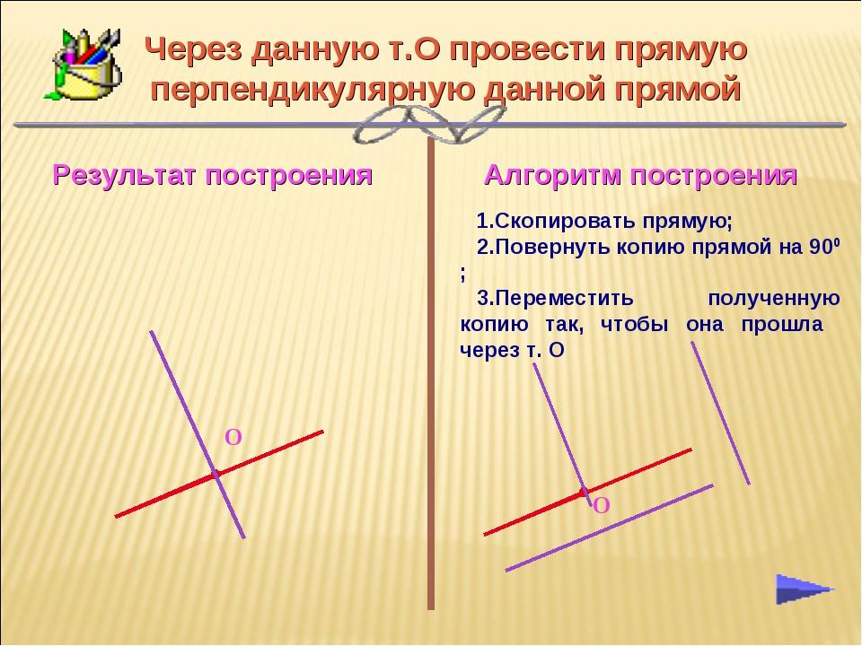Через данную т.О провести прямую перпендикулярную данной прямой Скопировать п...