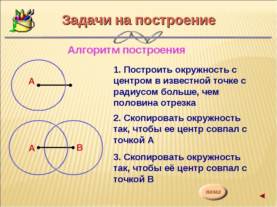 Задачи на построение Алгоритм построения 1. Построить окружность с центром в...