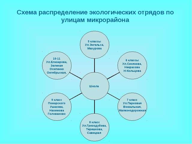 Схема распределение экологических отрядов по улицам микрорайона