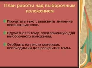 Федорова О.Г. МКОУ Октябрьская ООШ План работы над выборочным изложением Проч